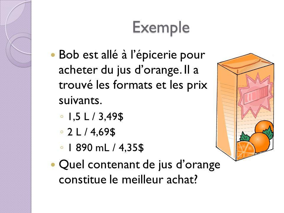 Exemple Bob est allé à lépicerie pour acheter du jus dorange.