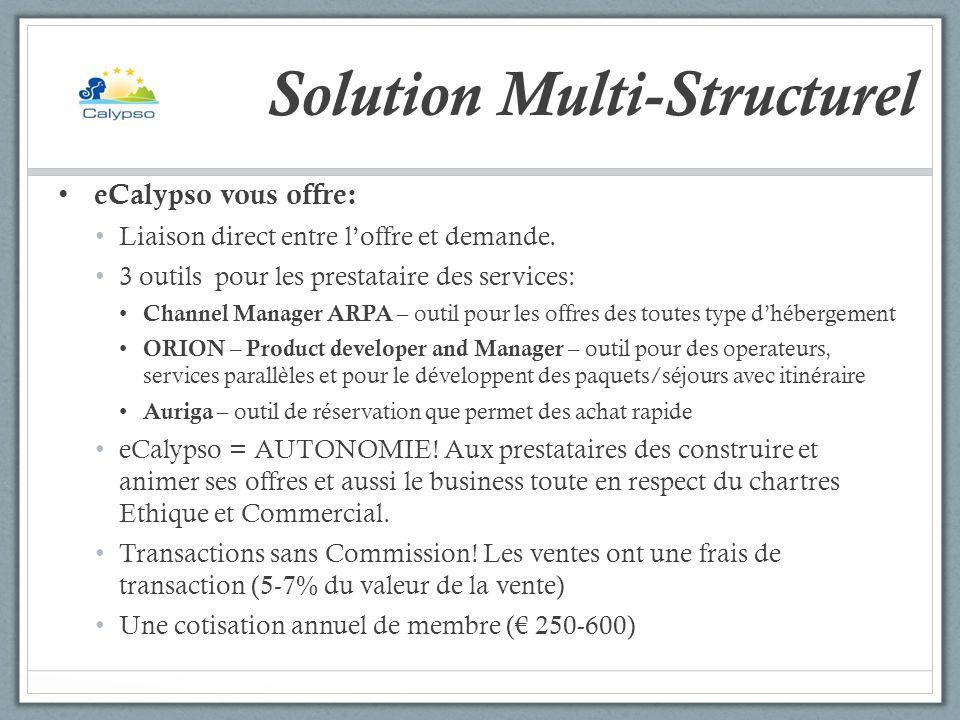 Solution Multi-Structurel eCalypso vous offre: Liaison direct entre loffre et demande. 3 outils pour les prestataire des services: Channel Manager ARP