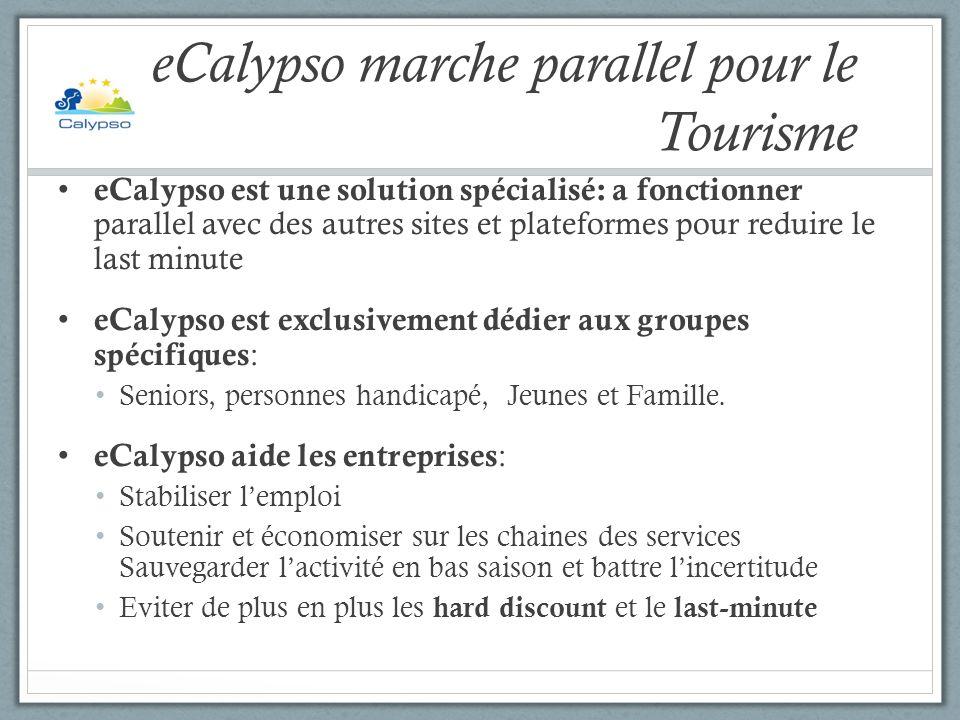 eCalypso marche parallel pour le Tourisme eCalypso est une solution spécialisé: a fonctionner parallel avec des autres sites et plateformes pour redui