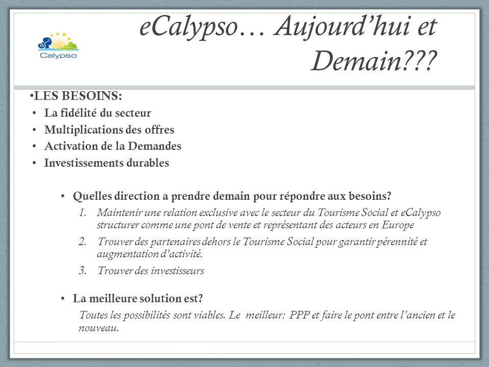 eCalypso… Aujourdhui et Demain??? LES BESOINS: La fidélité du secteur Multiplications des offres Activation de la Demandes Investissements durables Qu