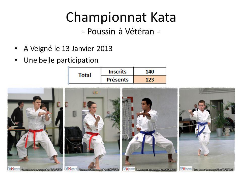 Championnat Kata - Poussin à Vétéran - A Veigné le 13 Janvier 2013 Une belle participation