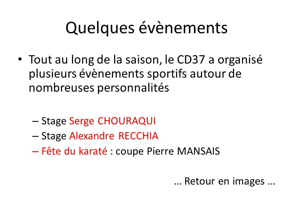 Quelques évènements Tout au long de la saison, le CD37 a organisé plusieurs évènements sportifs autour de nombreuses personnalités – Stage Serge CHOURAQUI – Stage Alexandre RECCHIA – Fête du karaté : coupe Pierre MANSAIS … Retour en images …
