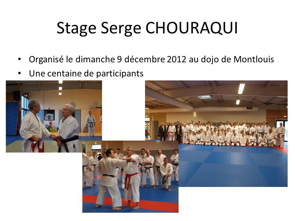 Stage Serge CHOURAQUI Organisé le dimanche 9 décembre 2012 au dojo de Montlouis Une centaine de participants