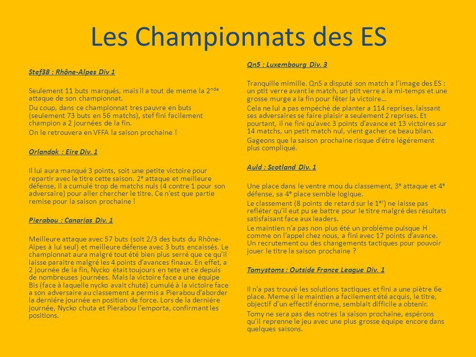 Les Championnats des ES Stef38 : Rhône-Alpes Div 1 Seulement 11 buts marqués, mais il a tout de meme la 2 nde attaque de son championnat.