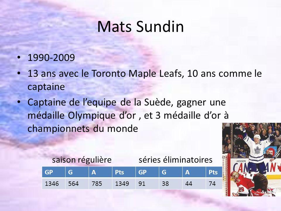 Mats Sundin 1990-2009 13 ans avec le Toronto Maple Leafs, 10 ans comme le captaine Captaine de lequipe de la Suède, gagner une médaille Olympique dor,