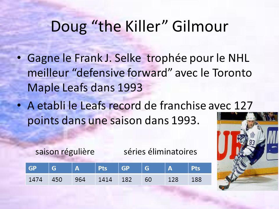Doug the Killer Gilmour Gagne le Frank J. Selke trophée pour le NHL meilleur defensive forward avec le Toronto Maple Leafs dans 1993 A etabli le Leafs