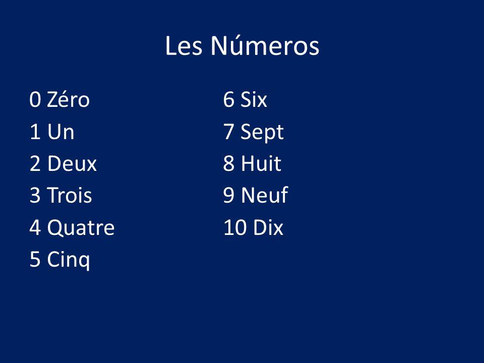Les Números 0 Zéro6 Six 1 Un7 Sept 2 Deux8 Huit 3 Trois9 Neuf 4 Quatre10 Dix 5 Cinq