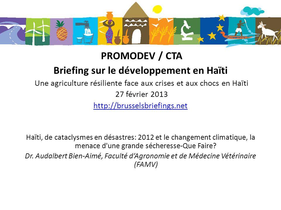 Haïti, de cataclysmes en désastres: 2012 et le changement climatique, la menace d une grande sécheresse-Que Faire.