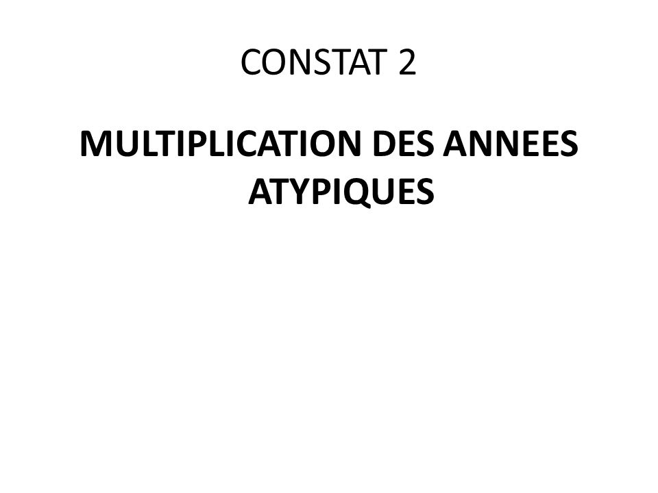 CONSTAT 2 MULTIPLICATION DES ANNEES ATYPIQUES