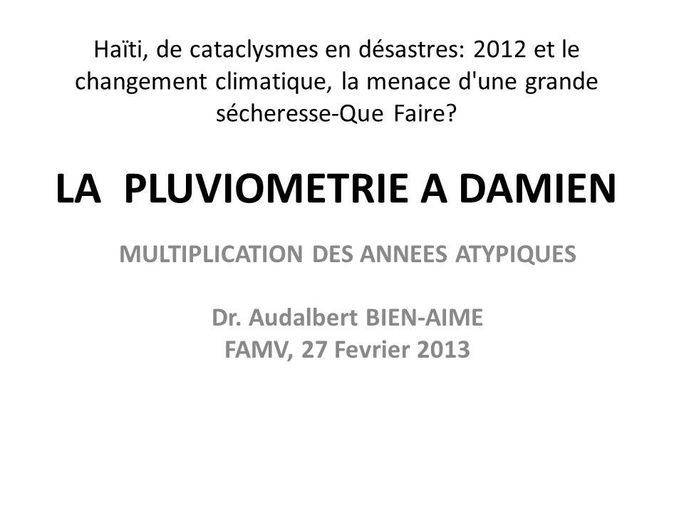 Haïti, de cataclysmes en désastres: 2012 et le changement climatique, la menace d'une grande sécheresse-Que Faire? LA PLUVIOMETRIE A DAMIEN MULTIPLICA
