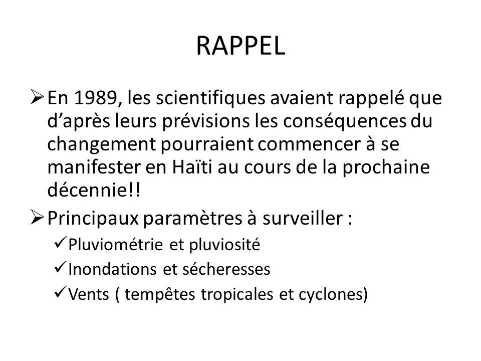 RAPPEL En 1989, les scientifiques avaient rappelé que daprès leurs prévisions les conséquences du changement pourraient commencer à se manifester en H