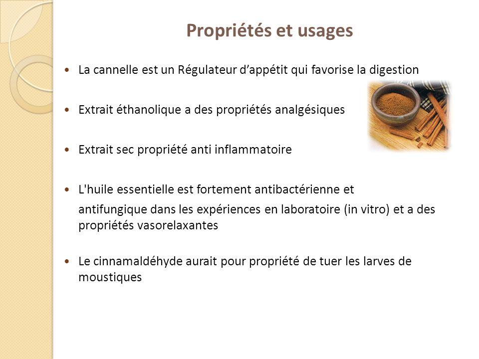 Propriétés et usages La cannelle est un Régulateur dappétit qui favorise la digestion Extrait éthanolique a des propriétés analgésiques Extrait sec pr