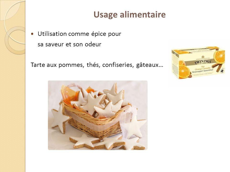 Usage alimentaire Utilisation comme épice pour sa saveur et son odeur Tarte aux pommes, thés, confiseries, gâteaux…