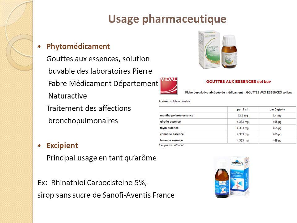 Usage pharmaceutique Phytomédicament Gouttes aux essences, solution buvable des laboratoires Pierre Fabre Médicament Département Naturactive Traitemen