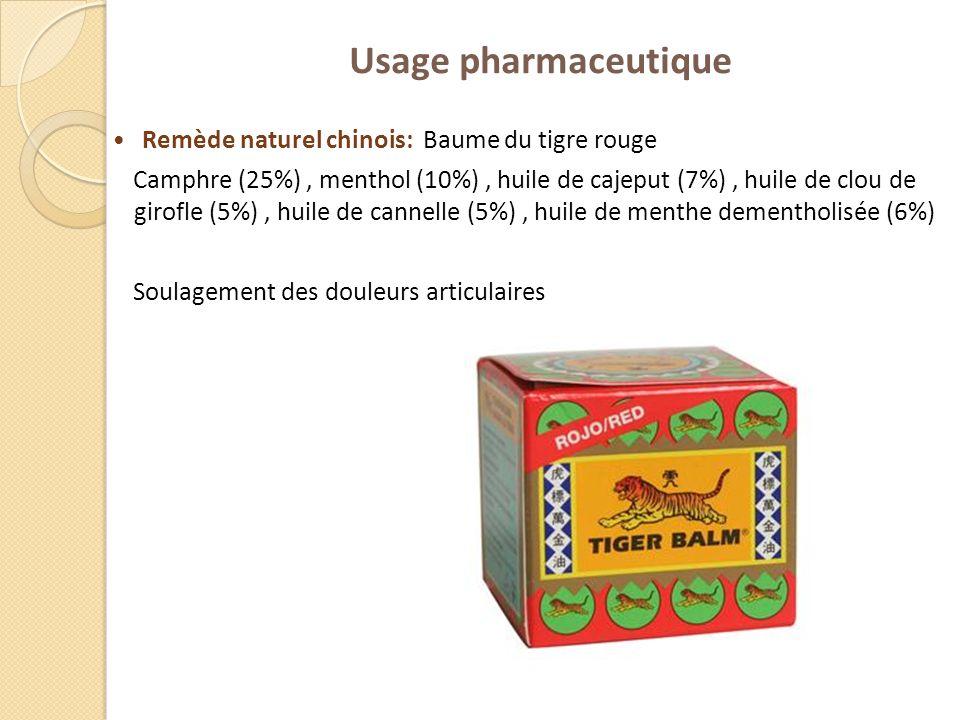 Usage pharmaceutique Remède naturel chinois: Baume du tigre rouge Camphre (25%), menthol (10%), huile de cajeput (7%), huile de clou de girofle (5%),