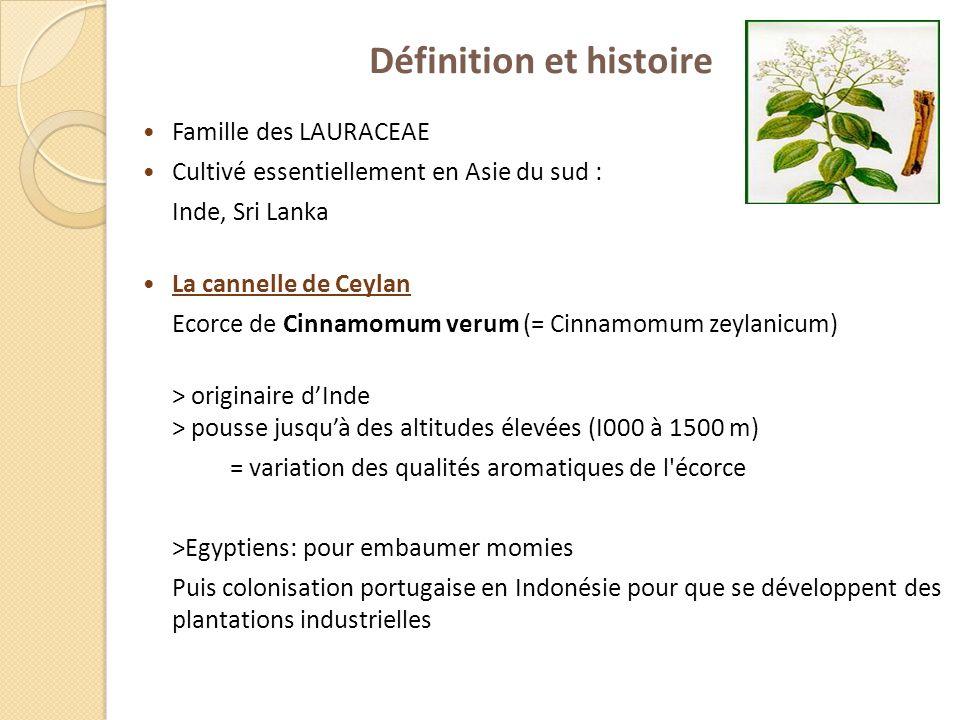 Définition et histoire Famille des LAURACEAE Cultivé essentiellement en Asie du sud : Inde, Sri Lanka La cannelle de Ceylan Ecorce de Cinnamomum verum