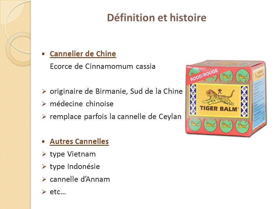 Définition et histoire Cannelier de Chine Ecorce de Cinnamomum cassia originaire de Birmanie, Sud de la Chine médecine chinoise remplace parfois la ca