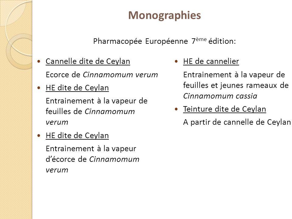 Monographies Pharmacopée Européenne 7 ème édition: Cannelle dite de Ceylan Ecorce de Cinnamomum verum HE dite de Ceylan Entrainement à la vapeur de fe