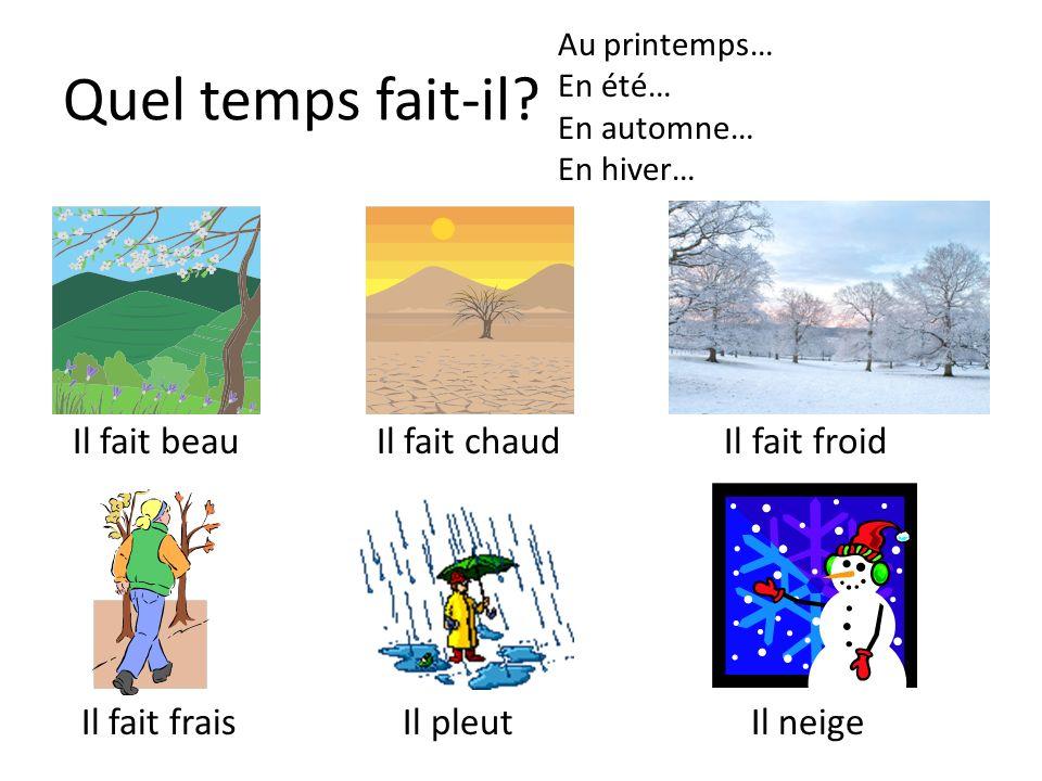 Quel temps fait-il? Il fait beau Il fait chaud Il fait froid Il fait frais Il pleut Il neige Au printemps… En été… En automne… En hiver…