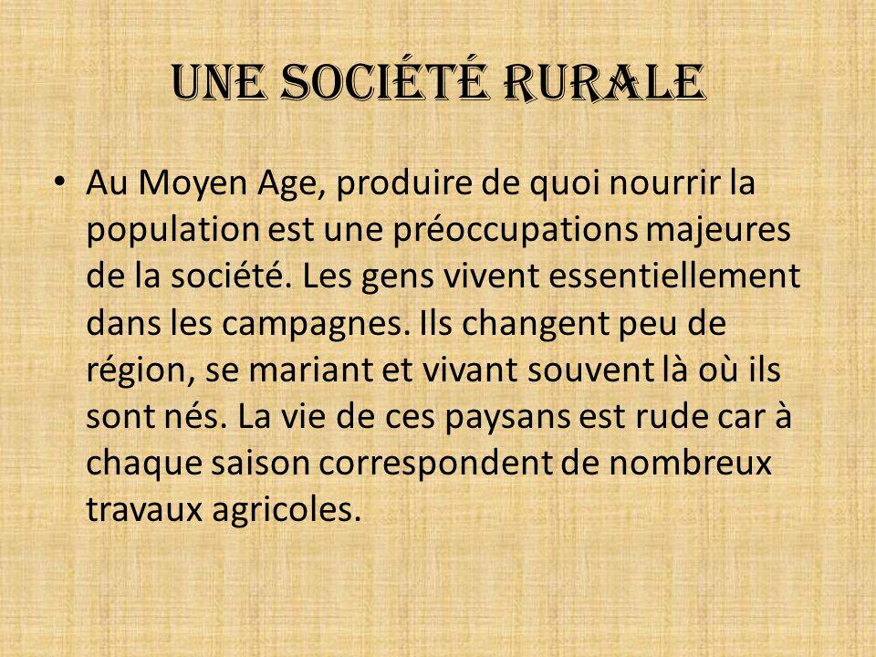 Une société rurale Au Moyen Age, produire de quoi nourrir la population est une préoccupations majeures de la société. Les gens vivent essentiellement
