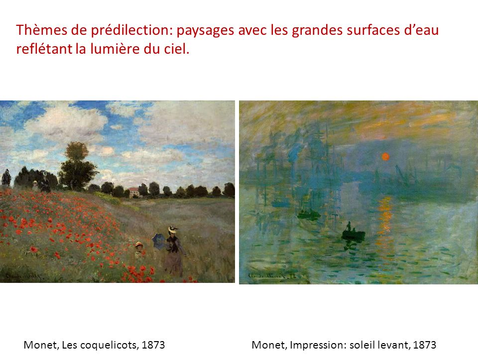 Thèmes de prédilection: paysages avec les grandes surfaces deau reflétant la lumière du ciel. Monet, Impression: soleil levant, 1873Monet, Les coqueli