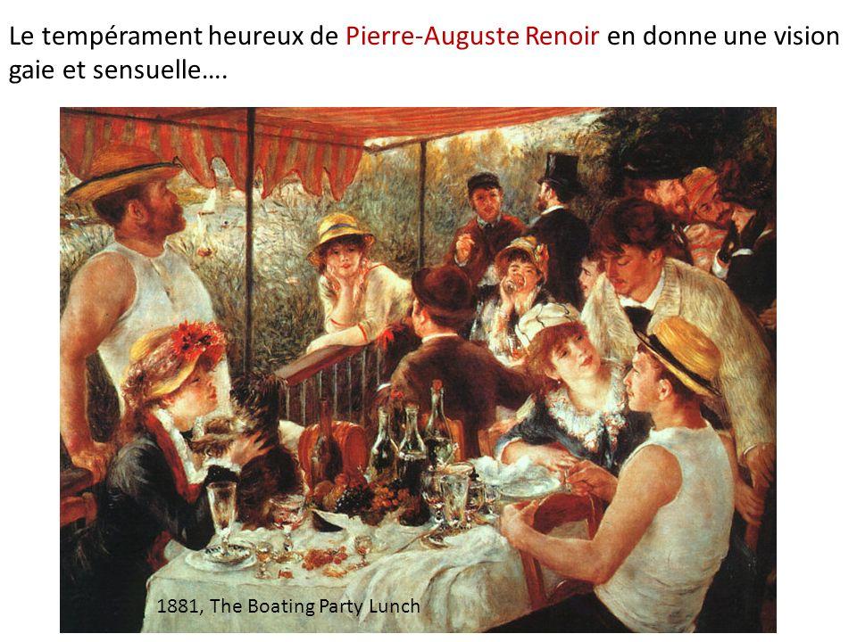 1881, The Boating Party Lunch Le tempérament heureux de Pierre-Auguste Renoir en donne une vision gaie et sensuelle….