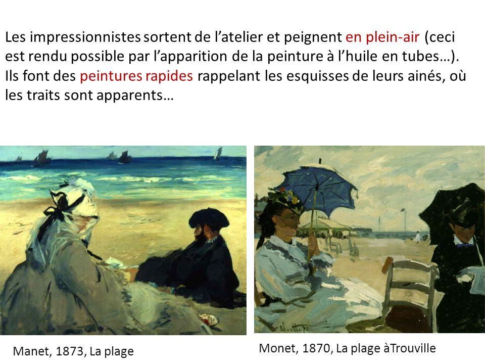Manet, 1873, La plage Monet, 1870, La plage àTrouville Les impressionnistes sortent de latelier et peignent en plein-air (ceci est rendu possible par lapparition de la peinture à lhuile en tubes…).