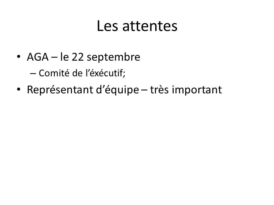 Les attentes AGA – le 22 septembre – Comité de léxécutif; Représentant déquipe – très important