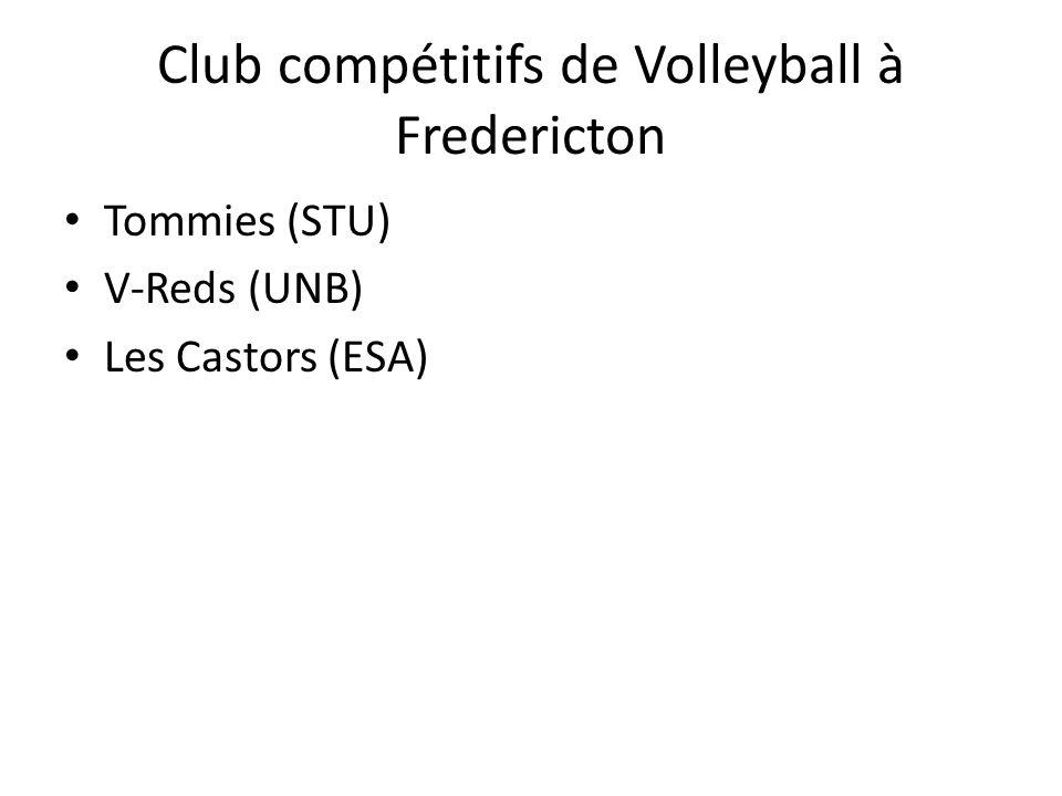 Club compétitifs de Volleyball à Fredericton Tommies (STU) V-Reds (UNB) Les Castors (ESA)