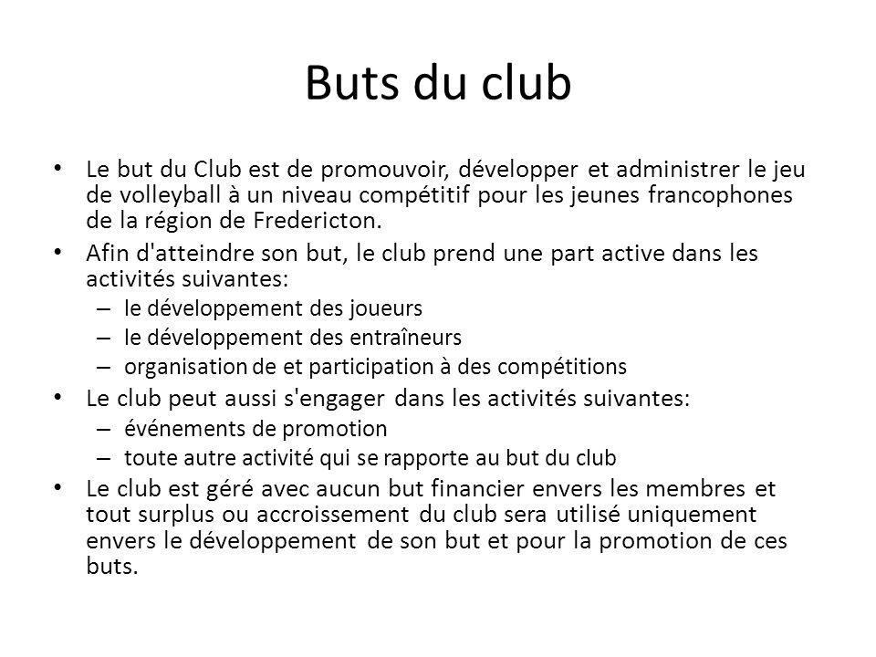Buts du club Le but du Club est de promouvoir, développer et administrer le jeu de volleyball à un niveau compétitif pour les jeunes francophones de la région de Fredericton.