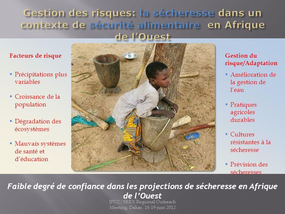 IPCC/SREX Regional Outreach Meeting, Dakar, 18-19 juin 2012 Facteurs de risqueGestion du risque/Adaptation Précipitations plus variables Croissance de la population Dégradation des écosystèmes Mauvais systèmes de santé et déducation Amélioration de la gestion de leau Pratiques agricoles durables Cultures résistantes à la sécheresse Prévision des sécheresses Faible degré de confiance dans les projections de sécheresse en Afrique de lOuest