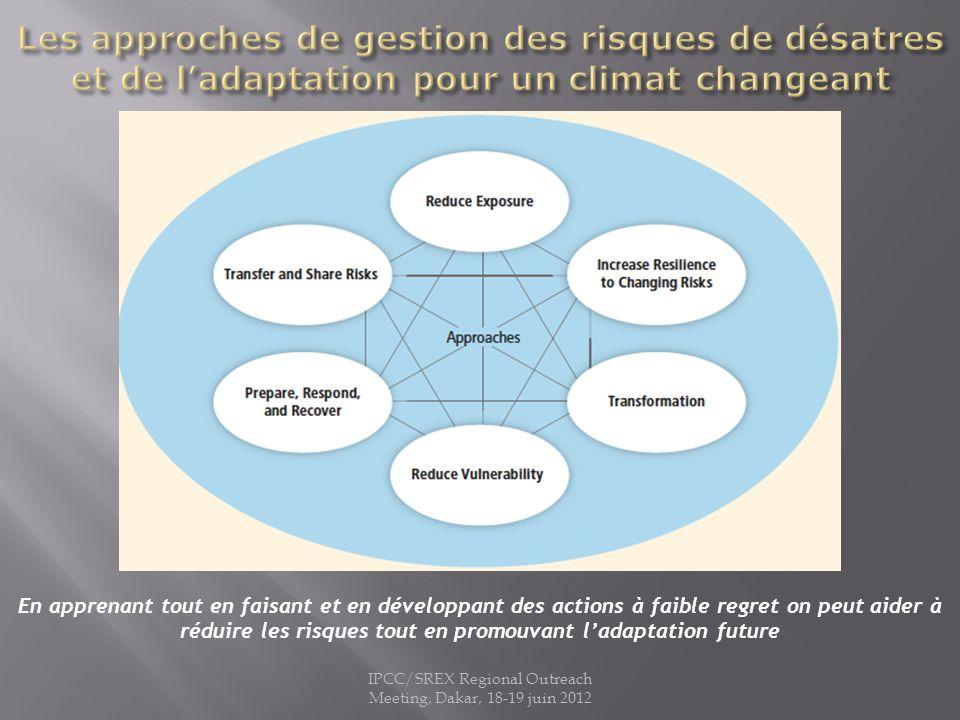 IPCC/SREX Regional Outreach Meeting, Dakar, 18-19 juin 2012 En apprenant tout en faisant et en développant des actions à faible regret on peut aider à réduire les risques tout en promouvant ladaptation future