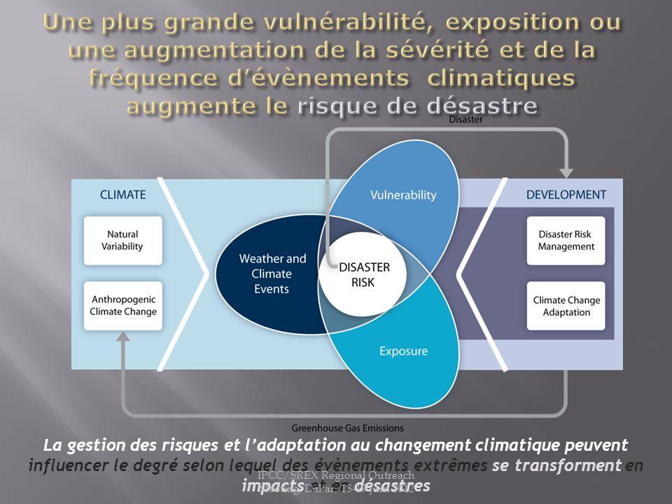 La gestion des risques et ladaptation au changement climatique peuvent influencer le degré selon lequel des évènements extrêmes se transforment en imp