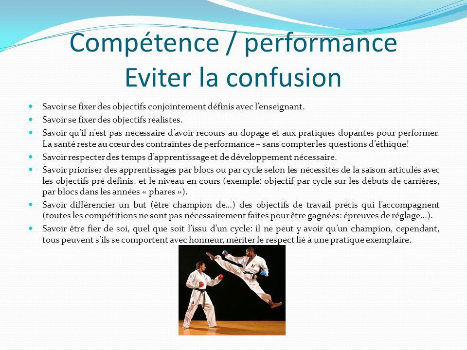 Compétence / performance Eviter la confusion Savoir se fixer des objectifs conjointement définis avec lenseignant.