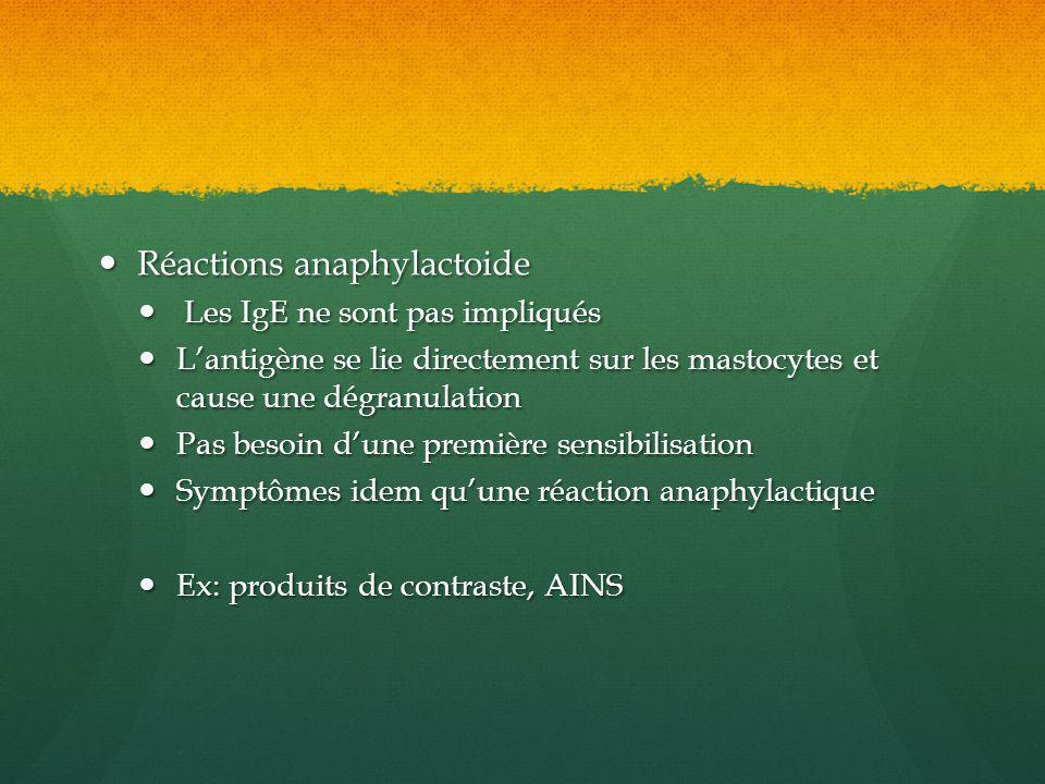 Réactions anaphylactoide Réactions anaphylactoide Les IgE ne sont pas impliqués Les IgE ne sont pas impliqués Lantigène se lie directement sur les mas