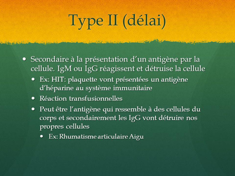 Type II (délai) Secondaire à la présentation dun antigène par la cellule. IgM ou IgG réagissent et détruise la cellule Secondaire à la présentation du