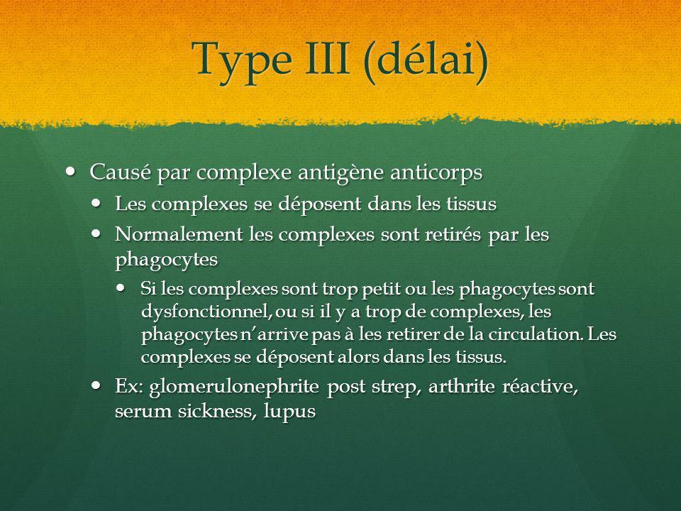 Type III (délai) Causé par complexe antigène anticorps Causé par complexe antigène anticorps Les complexes se déposent dans les tissus Les complexes s