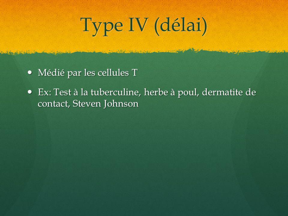 Type IV (délai) Médié par les cellules T Médié par les cellules T Ex: Test à la tuberculine, herbe à poul, dermatite de contact, Steven Johnson Ex: Te