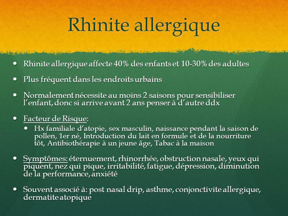 Rhinite allergique Rhinite allergique affecte 40% des enfants et 10-30% des adultes Rhinite allergique affecte 40% des enfants et 10-30% des adultes P