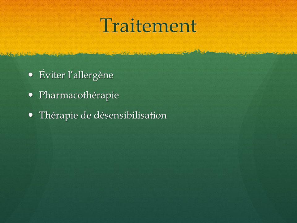 Traitement Éviter lallergène Éviter lallergène Pharmacothérapie Pharmacothérapie Thérapie de désensibilisation Thérapie de désensibilisation