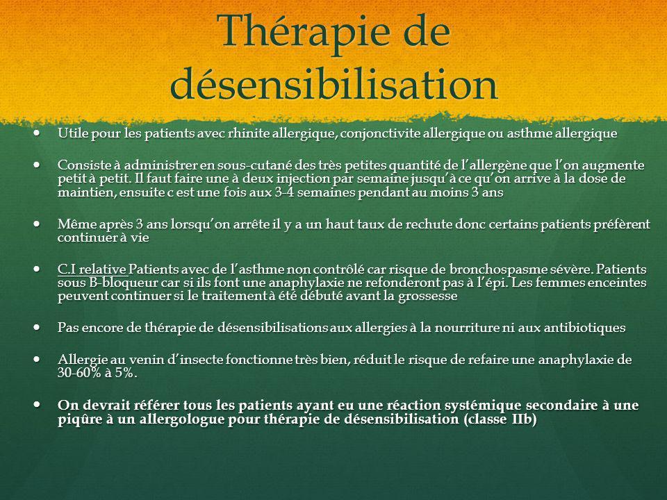 Thérapie de désensibilisation Utile pour les patients avec rhinite allergique, conjonctivite allergique ou asthme allergique Utile pour les patients a