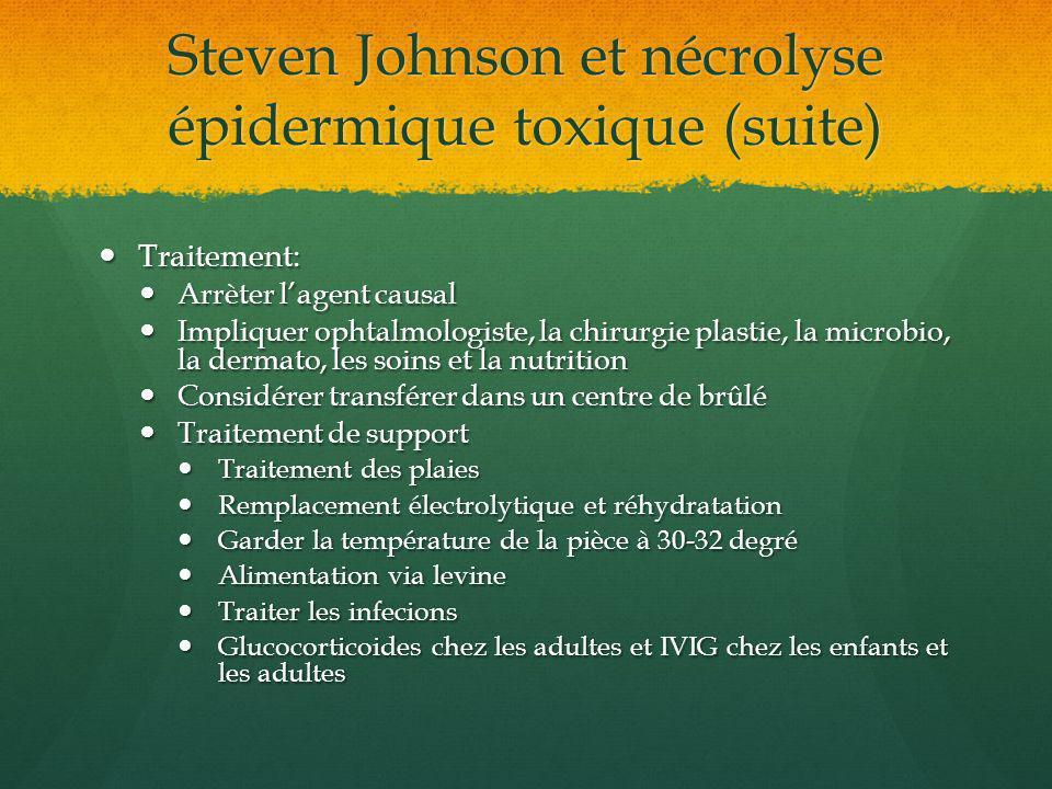 Steven Johnson et nécrolyse épidermique toxique (suite) Traitement: Traitement: Arrèter lagent causal Arrèter lagent causal Impliquer ophtalmologiste,