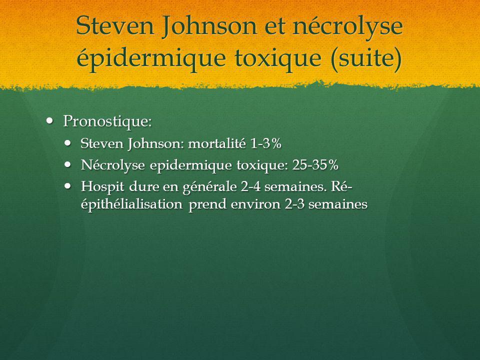 Steven Johnson et nécrolyse épidermique toxique (suite) Pronostique: Pronostique: Steven Johnson: mortalité 1-3% Steven Johnson: mortalité 1-3% Nécrol