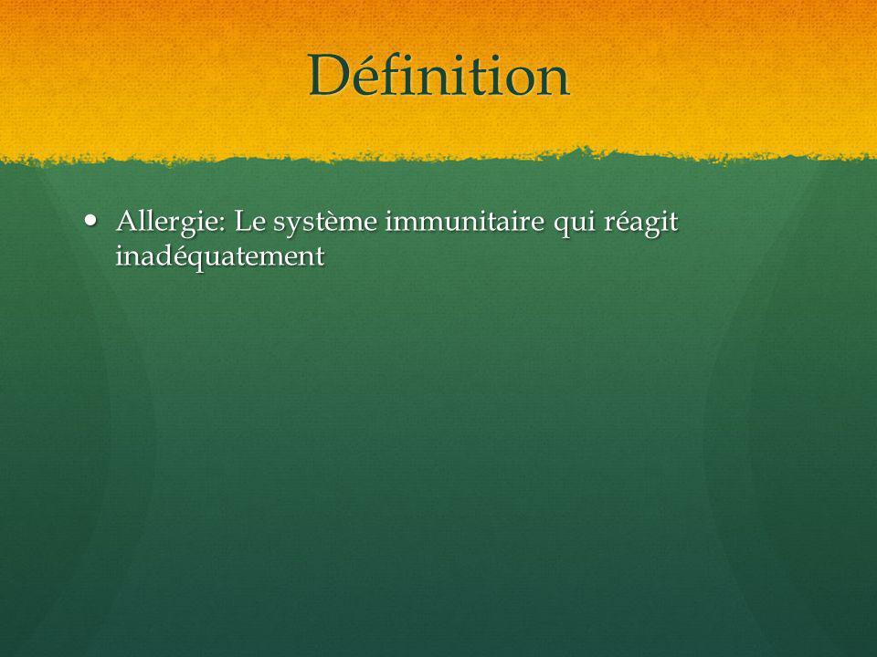 Définition Allergie: Le système immunitaire qui réagit inadéquatement Allergie: Le système immunitaire qui réagit inadéquatement