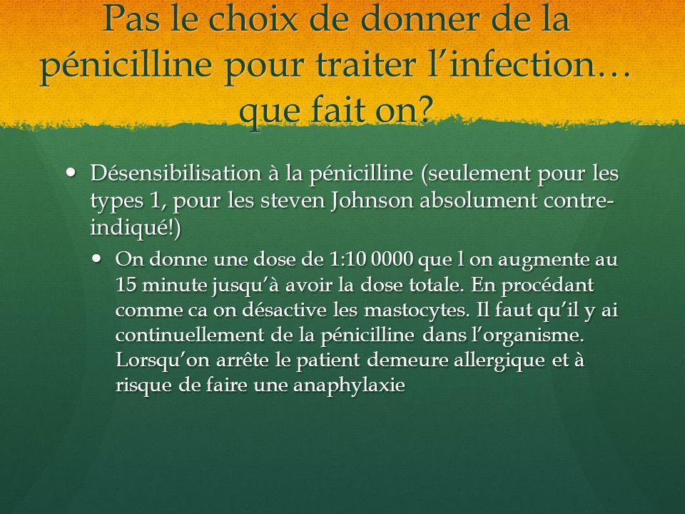 Pas le choix de donner de la pénicilline pour traiter linfection… que fait on? Désensibilisation à la pénicilline (seulement pour les types 1, pour le