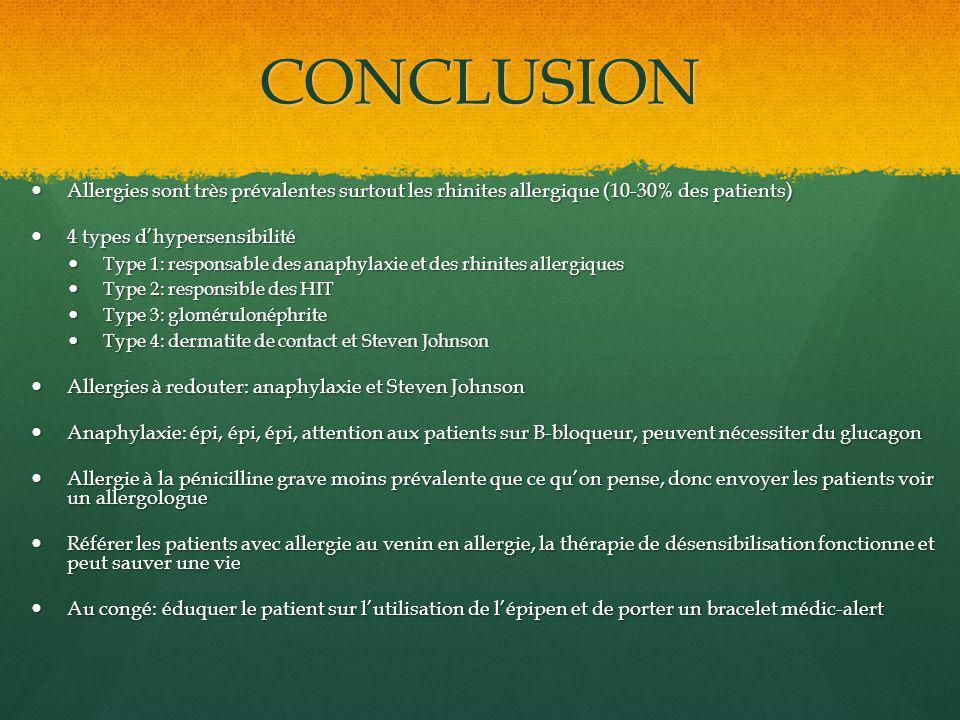 CONCLUSION Allergies sont très prévalentes surtout les rhinites allergique (10-30% des patients) Allergies sont très prévalentes surtout les rhinites