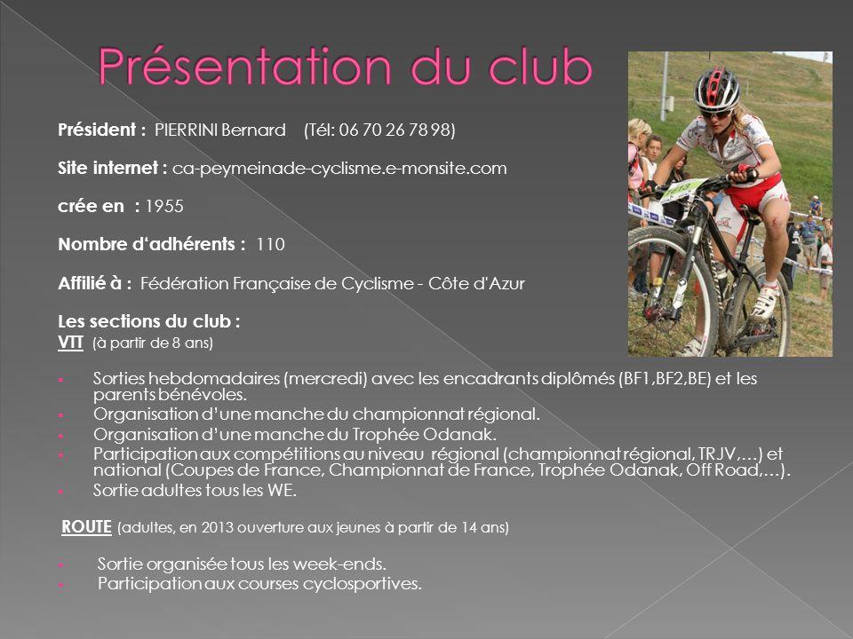 Président : PIERRINI Bernard (Tél: 06 70 26 78 98) Site internet : ca-peymeinade-cyclisme.e-monsite.com crée en : 1955 Nombre dadhérents : 110 Affilié