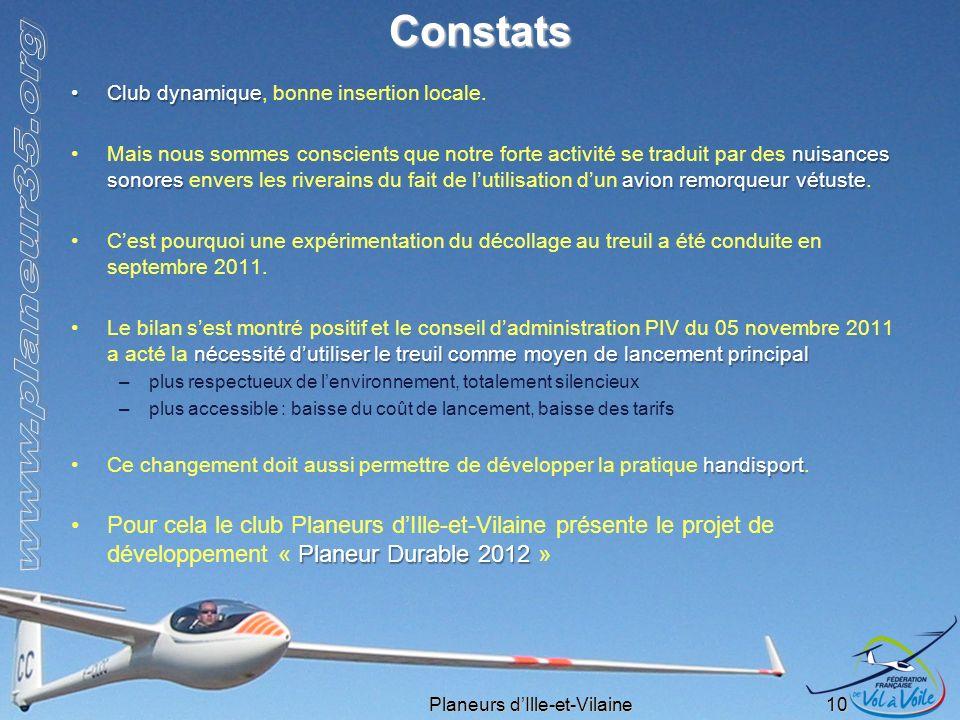 Planeurs dIlle-et-Vilaine 10 Constats Club dynamiqueClub dynamique, bonne insertion locale. nuisances sonores avion remorqueur vétusteMais nous sommes
