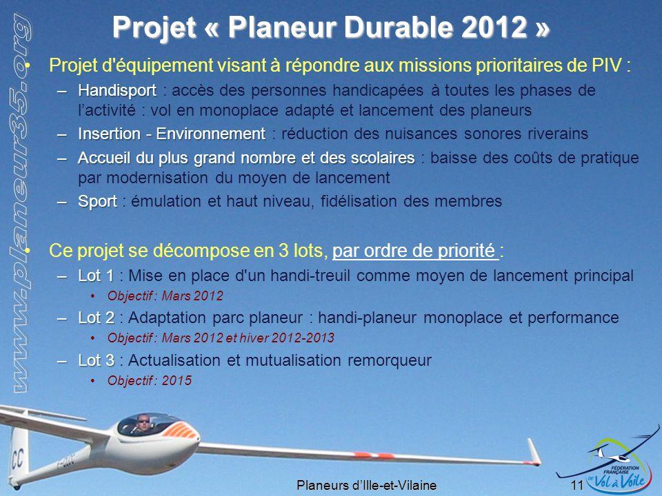 Planeurs dIlle-et-Vilaine 11 Projet « Planeur Durable 2012 » Projet d'équipement visant à répondre aux missions prioritaires de PIV : –Handisport –Han