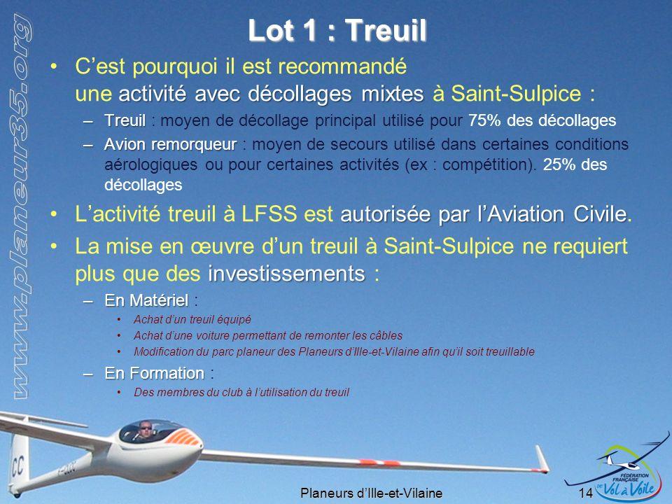Planeurs dIlle-et-Vilaine 14 Lot 1 : Treuil activité avec décollages mixtesCest pourquoi il est recommandé une activité avec décollages mixtes à Saint